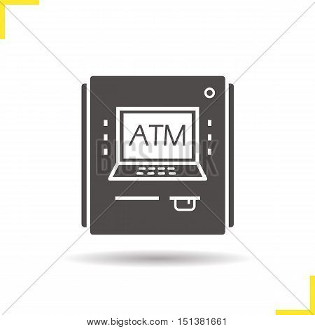 ATM machine icon. Drop shadow silhouette symbol. Cash machine. Negative space. Vector isolated illustration
