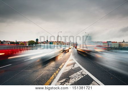 Gloomy day. Bad weather and traffic jam in the city. Prague Czech Republic