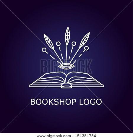 Vector book logo with magical symbols. Library logo.