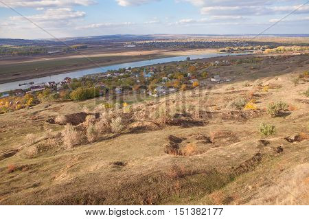 Moldavian village Malaiesti situated on River Dniester shore