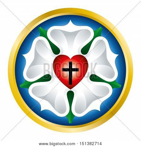 Luther rose, also Luther seal, symbol of Lutheranism, used by Martin Luther as an expression of his theology. Black cross in heart for Holy Trinity, a white rose in sky blue field and golden ring.
