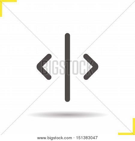 Open door icon. Drop shadow silhouette symbol. Elevator open door button. Vector isolated illustration