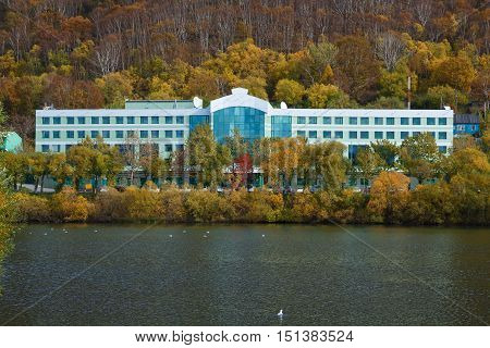 PETROPAVLOVSK-KAMCHATSKY, KAMCHATKA PENINSULA, RUSSIA - OCT 12, 2016: autumn view of modern building of Kamchatka branch of Sberbank of Russia in city of Petropavlovsk-Kamchatsky in Russian Far East.