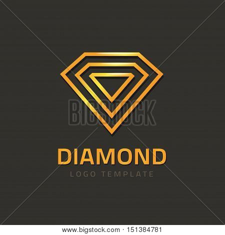 Diamond logotype vector illustration isolated on dark background, golden jewel logo glossy outline line style, concept of jewelry brand sign, geometric creative jewellery symbol