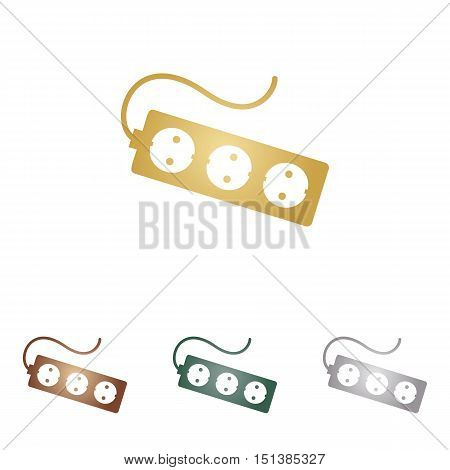 Electric Extension Plug Sign. Metal Icons On White Backgound.