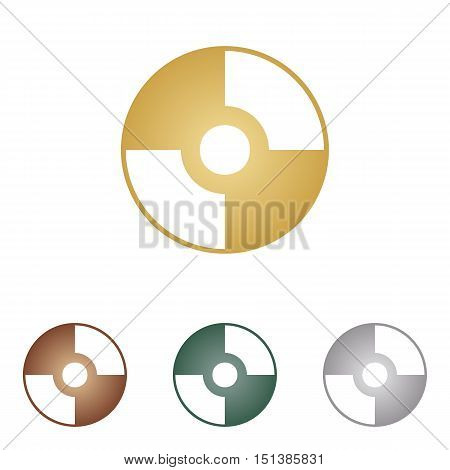 Vector Cd Or Dvd Sign. Metal Icons On White Backgound.