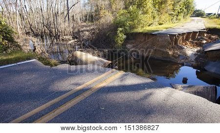 Road near Fayetteville North Carolina that has been totally washed out after Hurricane Matthew