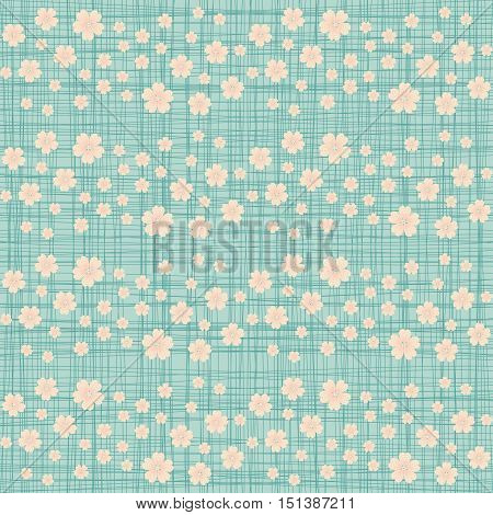 Cute seamless pattern with many repeating flowers on the canvas background. Vector illustration eps 10