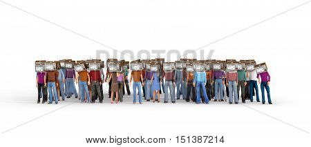 Mass media concept. Crowd of people with old tv instead head isolated on a white. Concept of propaganda and zombie society. 3d illustration