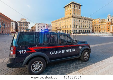 ROME ITALY - September 12 2016: Carabinieri's car is Carabinieri Land Rover Discovery (Italian Police) parked near in the Piazza Venezia Rome Italy. Since 2001 Carabinieri has been one of the four Italian Armed Forces.