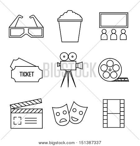 Vector set line icons. Lineary pictogram. Camera, movie, ticket, cinema, popcorn 3D glasses clapboard screen filmstrip film reel