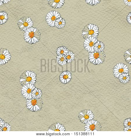 Seamless floral pattern with daisy flowers. Floral watercolor background.