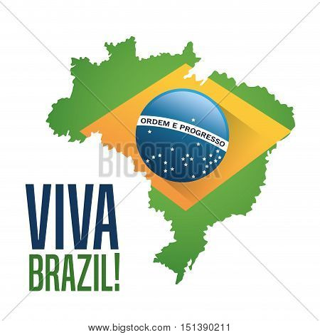 Flag and map icon. Brazil culture america and tourism theme. Colorful design. Vector illustration