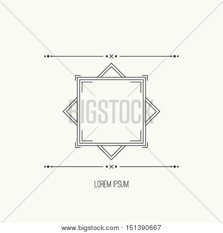 Vintage linear geometric frame with divider. Geometry retro art shape deco. Vector vintage separate border. Tribal text box. Ethnic textbox.