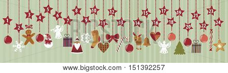 Advent calendar with Christmas decorations - vector illustration