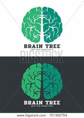Green Brain tree logo vector art design isolate on white and dark background
