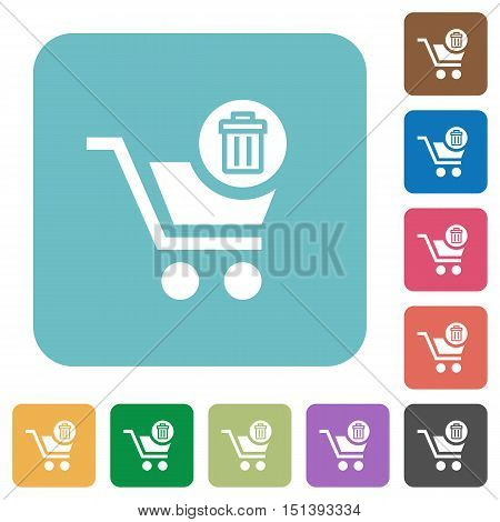 Flat Delete from cart icons on rounded square color backgrounds.