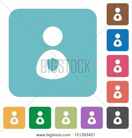 Flat security guard icons on rounded square color backgrounds.