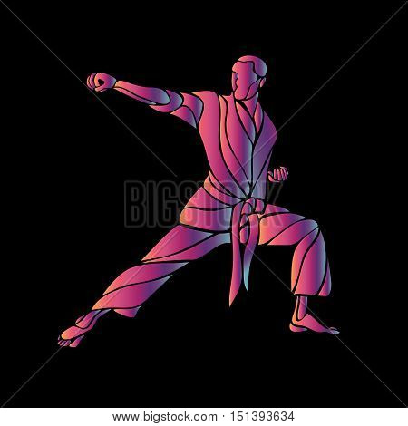 Man in a karate pose. Martial arts man silhouette. Abstract illustration of a martial arts master on black background