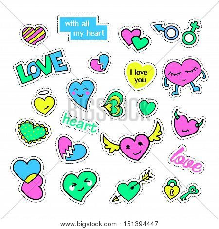Pop art set with fashion patch badges and different hearts. Stickers, pins, patches, quirky, handwritten notes collection. 80s-90s style. Trend. Vector illustration isolated. Vector clip art.