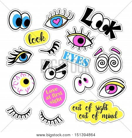 Pop art set with fashion patch badges and different eyes. Stickers, pins, patches, quirky, handwritten notes collection. 80s-90s style. Trend. Vector illustration isolated. Vector clip art.