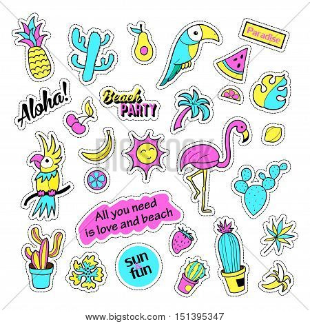 Pop art set with fashion patch badges and different tropical elements. Stickers, pins, patches, quirky, handwritten notes collection. 80s-90s style. Trend. Vector illustration isolated.Vector clip art.