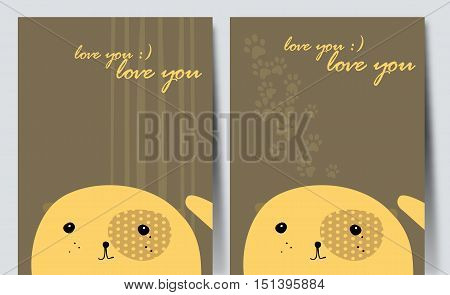 Postcard with pretty yellow dog. Simple vector drawing.
