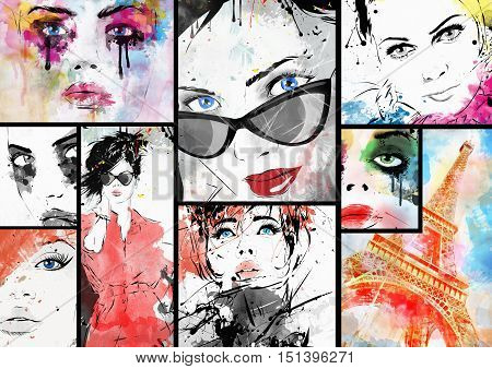 Beautiful collage faces of women. Hand painted fashion illustration
