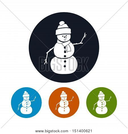 Icon of a Christmas Snowman in a Hat and Scarf, Four Types of Colorful Round Icons Christmas Snowman, Christmas Decorations, Vector Illustration