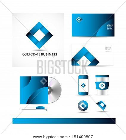 Blue rhombus coporate business vector logo icon sign design template identity