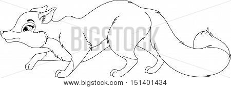 Image fox sneaks on white background, coloring page