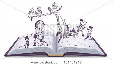 Open book illustration tale of Pinocchio. Vector cartoon