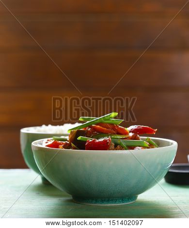 Traditional Asian food - fried vegetables and rice