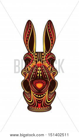 Ornamental eclectic mixed colorful art head donkey vector