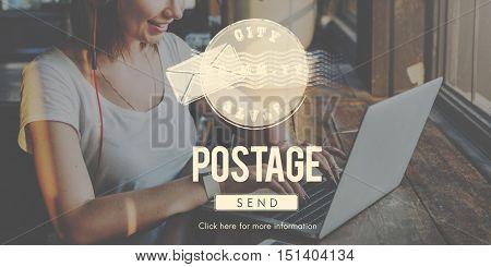 Postage Postal Stamp Delivery Postmark Concept