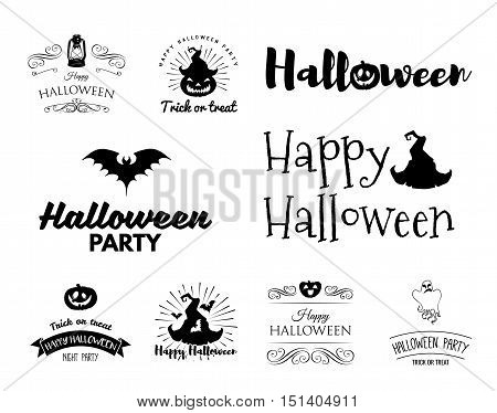 Smile Pumpkin, Bat, Spiderweb, Witch Hat.Halloween Badges Logos Labels Set