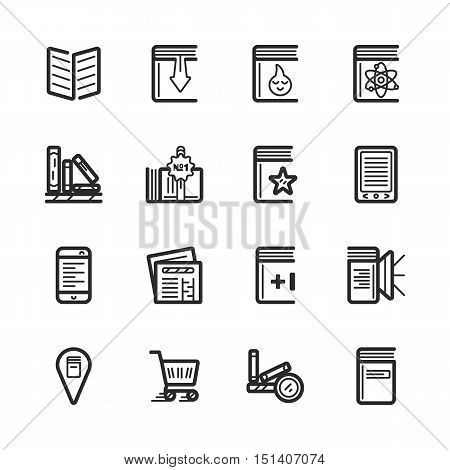 Simple set of bookstore related vector icons eps 10