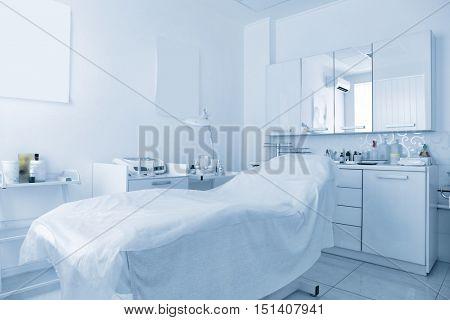 Cosmetologist cabinet in modern beauty saloon