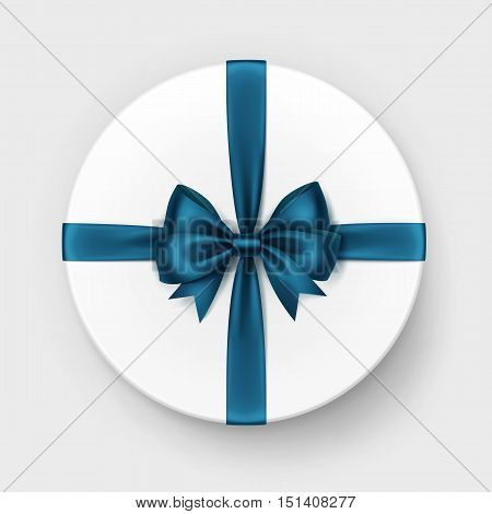 Vector White Round Gift Box with Shiny Dark Blue Turquoise Satin Bow and Ribbon Top View Close up Isolated on Background