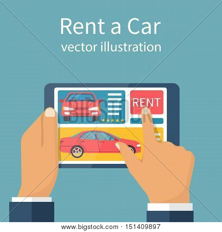 Rent car concept. Man holding tablet in hand to online rent a car. Modern technologies. Application on a device convenience and service. Vector illustration flat design. Booking auto.