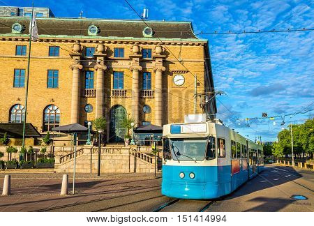 Tram on a street of Gothenburg in Sweden