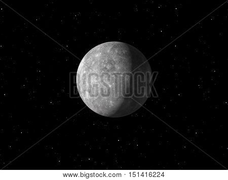 3d rendering of the planet Mercury done with NASA textures