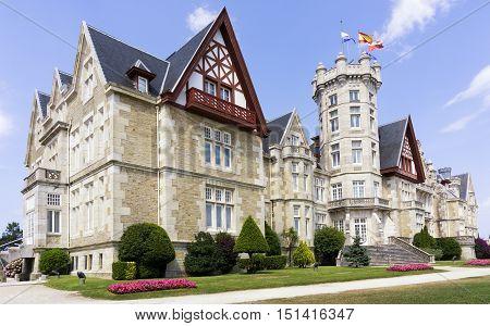 SANTANDER, SPAIN - JULY 18, 2015: La Magdalena Palace, a former Summer Royal Palace, now campus of the International University Menendez Pelayo in Santander, Spain, on Jul 18, 2015