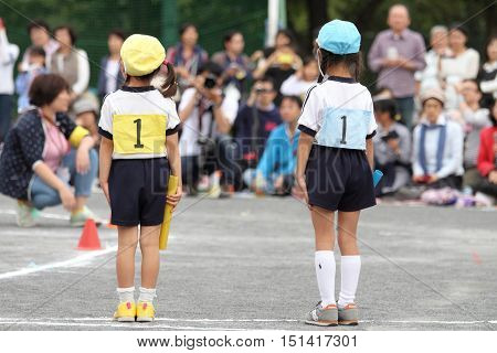 Sports festival at Japanese kindergarten in Yokohama