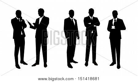Business men silhouettes set in various poses. Flat vector illustrations. Group of business people.