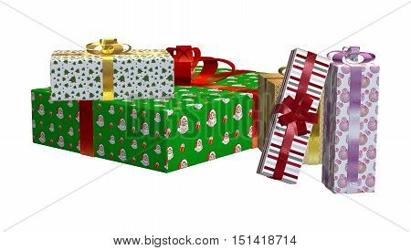 3D Rendering Present Pile On White