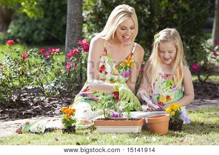 Woman And Girl, Mother & Daughter, Gardening Planting Flowers