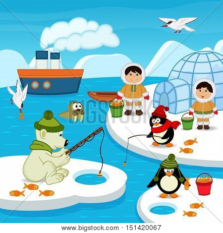 Eskimos and animals catch fish - vector illustration, eps