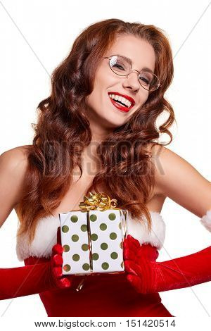 Christmas woman with gift box