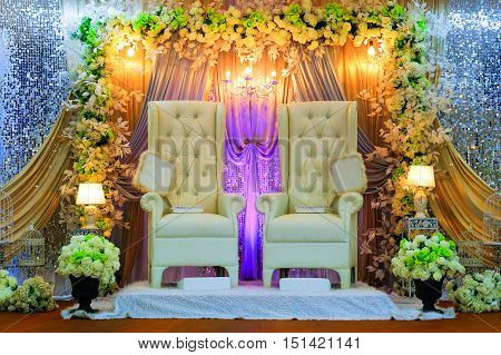 Colorful themed wedding stage.Malay Traditional Wedding Concept.